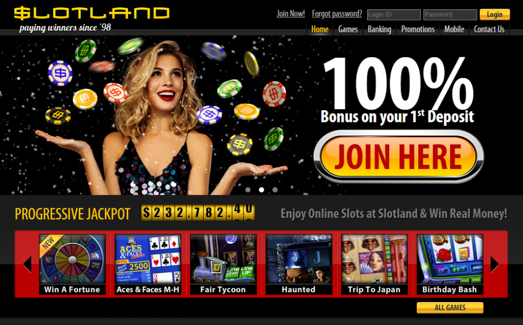 Slotland Casino screen