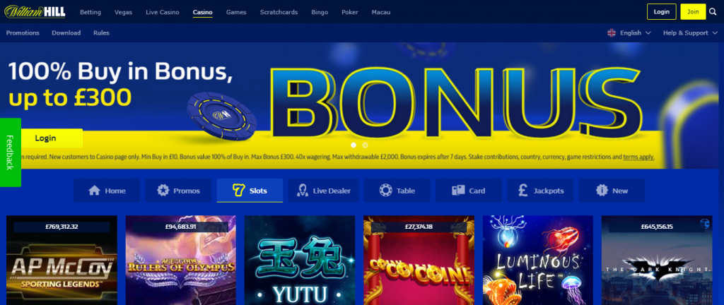 William Hill Casino screen