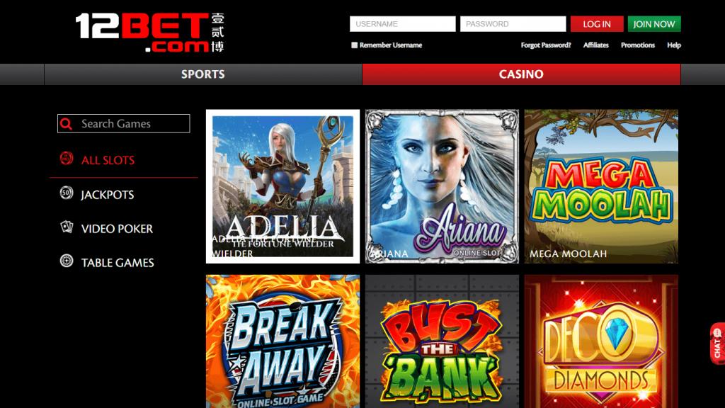 12Bet Casino screen
